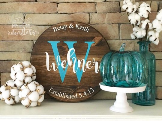 Dark Walnut background in 15-inch size and lettering for Wehner is done in Magnolia Sky font