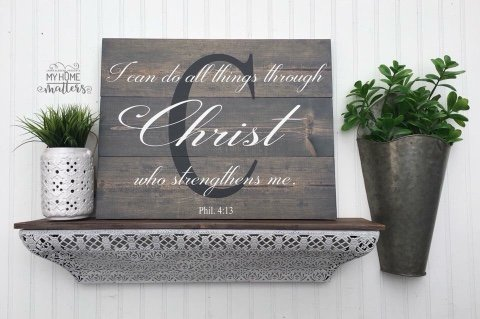 planked 16.5x21 gray gel stain background with black and white lettering; verse is done in Darleston font