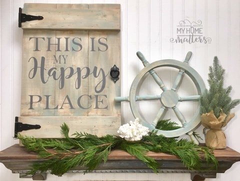 """wash of colors in tans/blues/grays, gray lettering 16.5x24; """"happy"""" is done in Magnolia Sky font"""