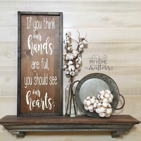 background is Espresso and frame is black gel stain, white lettering; script lettering is done in Magnolia Sky font