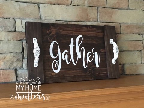 dark walnut with white lettering done in Magnolia Sky font