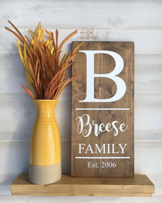 Dark Walnut with white lettering and Breese is done in Magnolia Sky font