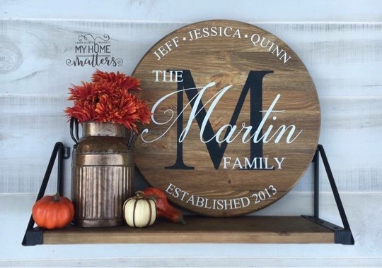 Early American stain background in 18-inch size using Darleston font for Martin